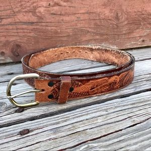 Vintage Brown Leather Embossed Eagle Belt Sz 44